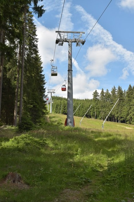 cable car among green trees in braunlage