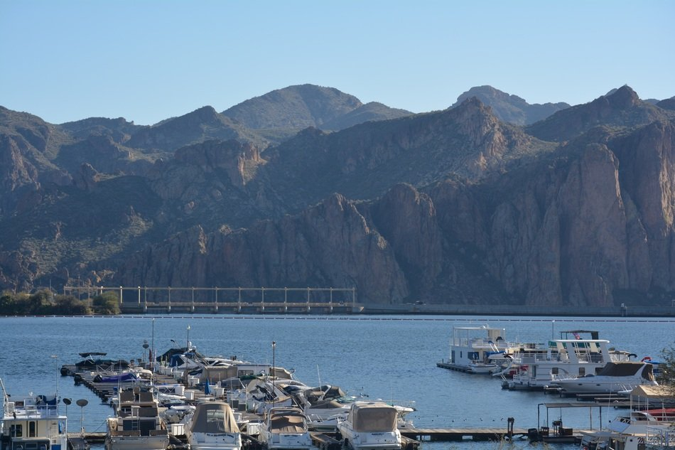 panorama of the marina among the picturesque mountains