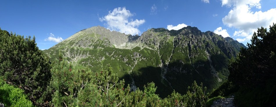 panorama of picturesque Tatras on a sunny day