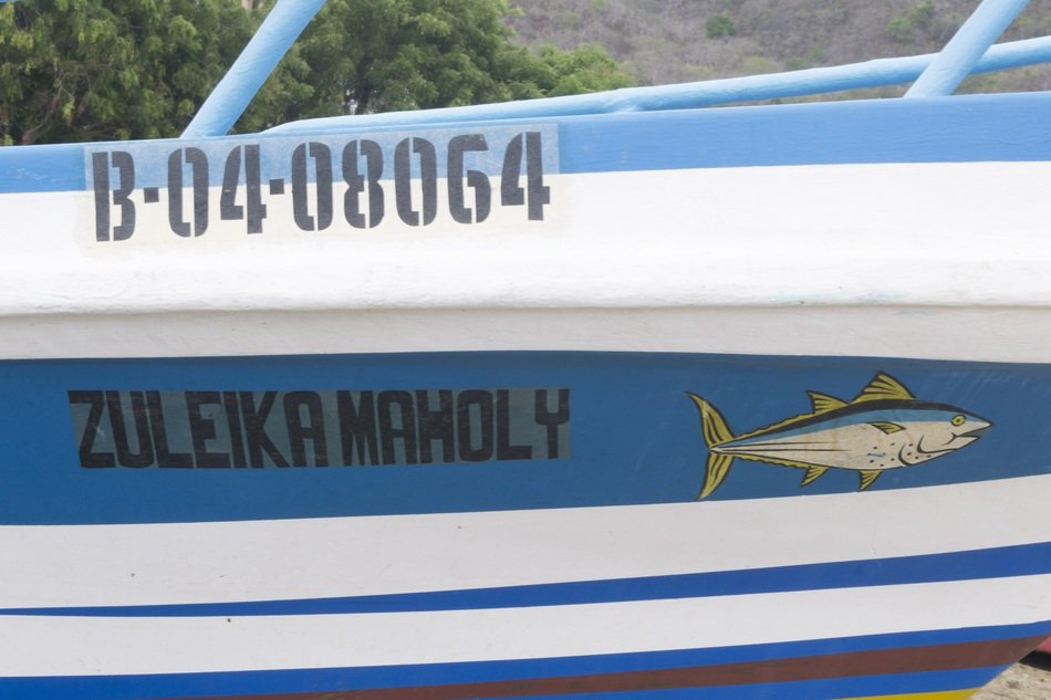 Blue and white fishermen boat in the Lopez port in Ecuador