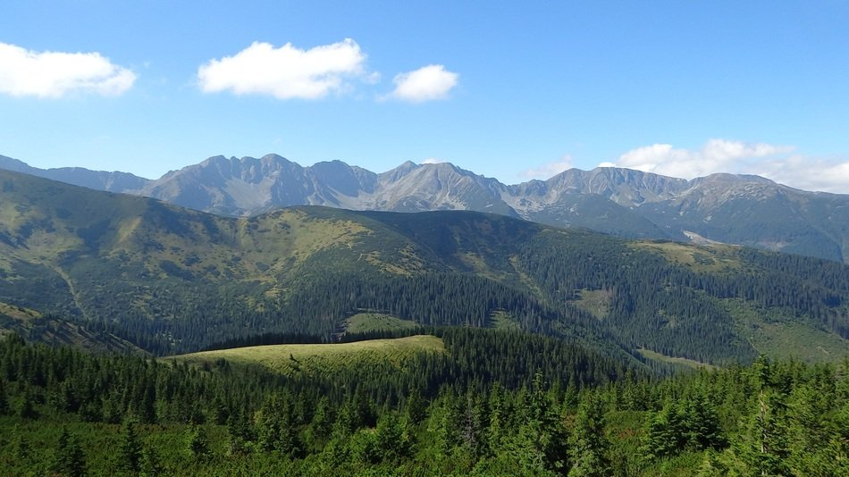 panorama of the western tatras on a clear sunny day