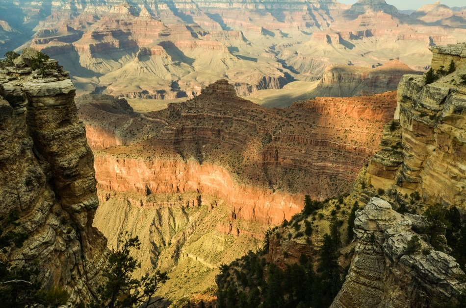 panorama of a huge gorge in the Grand Canyon on a sunny day