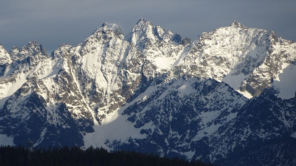 panorama of high Tatras in the snow on a sunny day