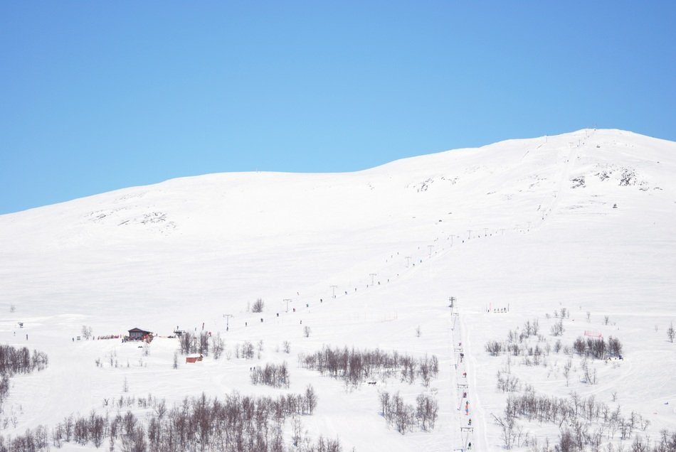 Winter Swedish snowy mountain rest
