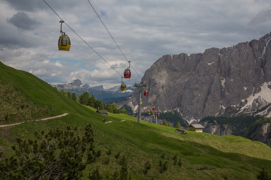 cable car over a green mountainside