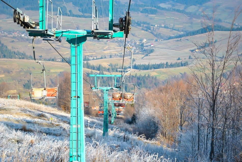 panoramic view of the ski lift in the Carpathians in Ukraine