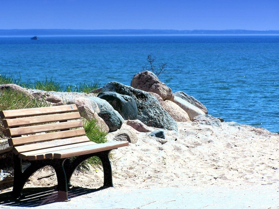 bench on the Baltic sea coast