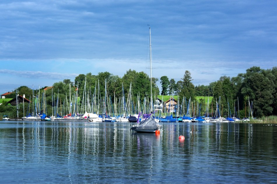 boats on a lake in upper bavaria