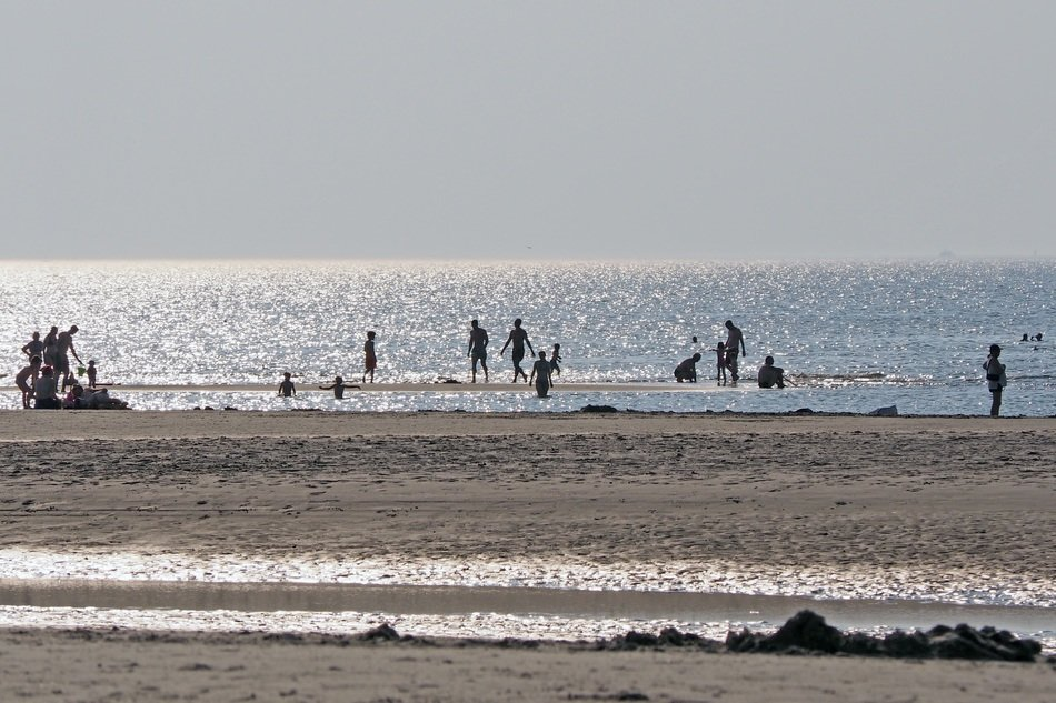 panoramic view of the beach in the resort of Ording