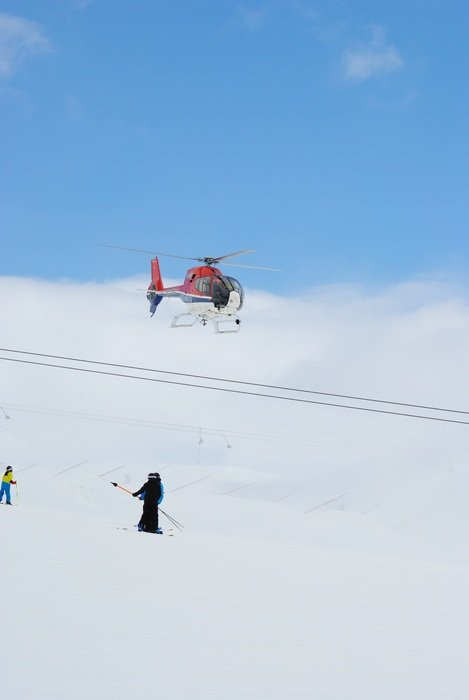 Winter Swedish Mountain helicopter scene
