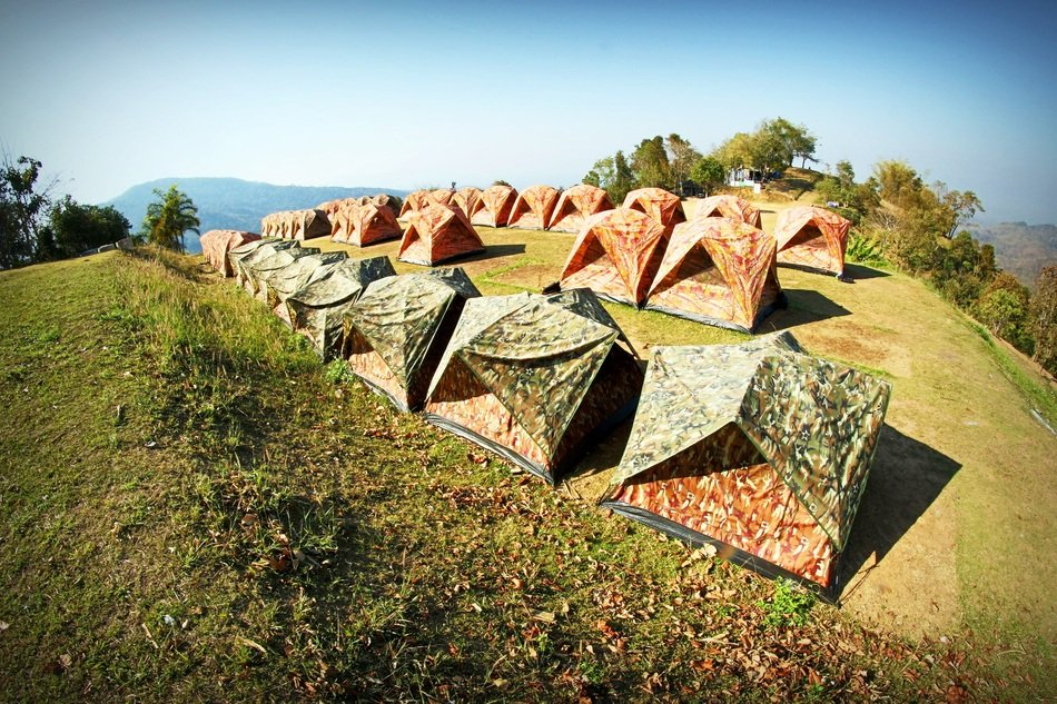 Camp Tents on green meadow, thailand, phetchabun