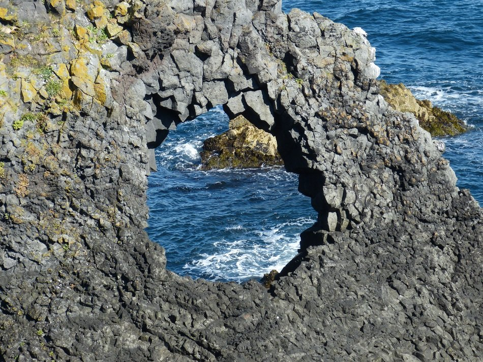 natural hole in the rock on Snaefellness, Iceland