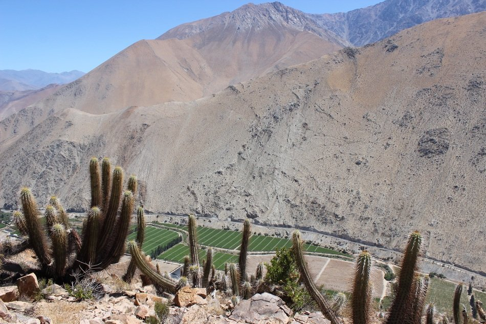 Beautiful distant view of Paihuano village in a valley in Elqui, Chile