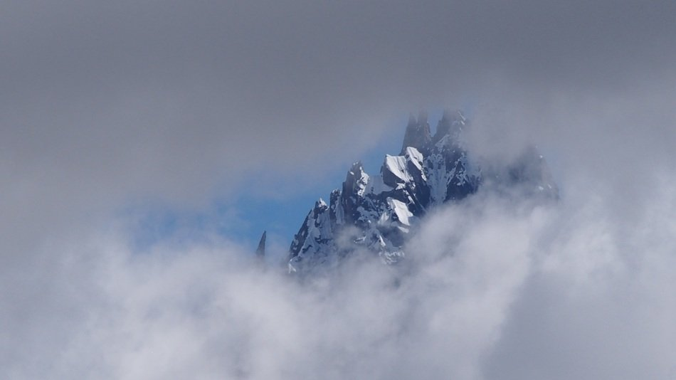 foggy mounatains in Chamonix