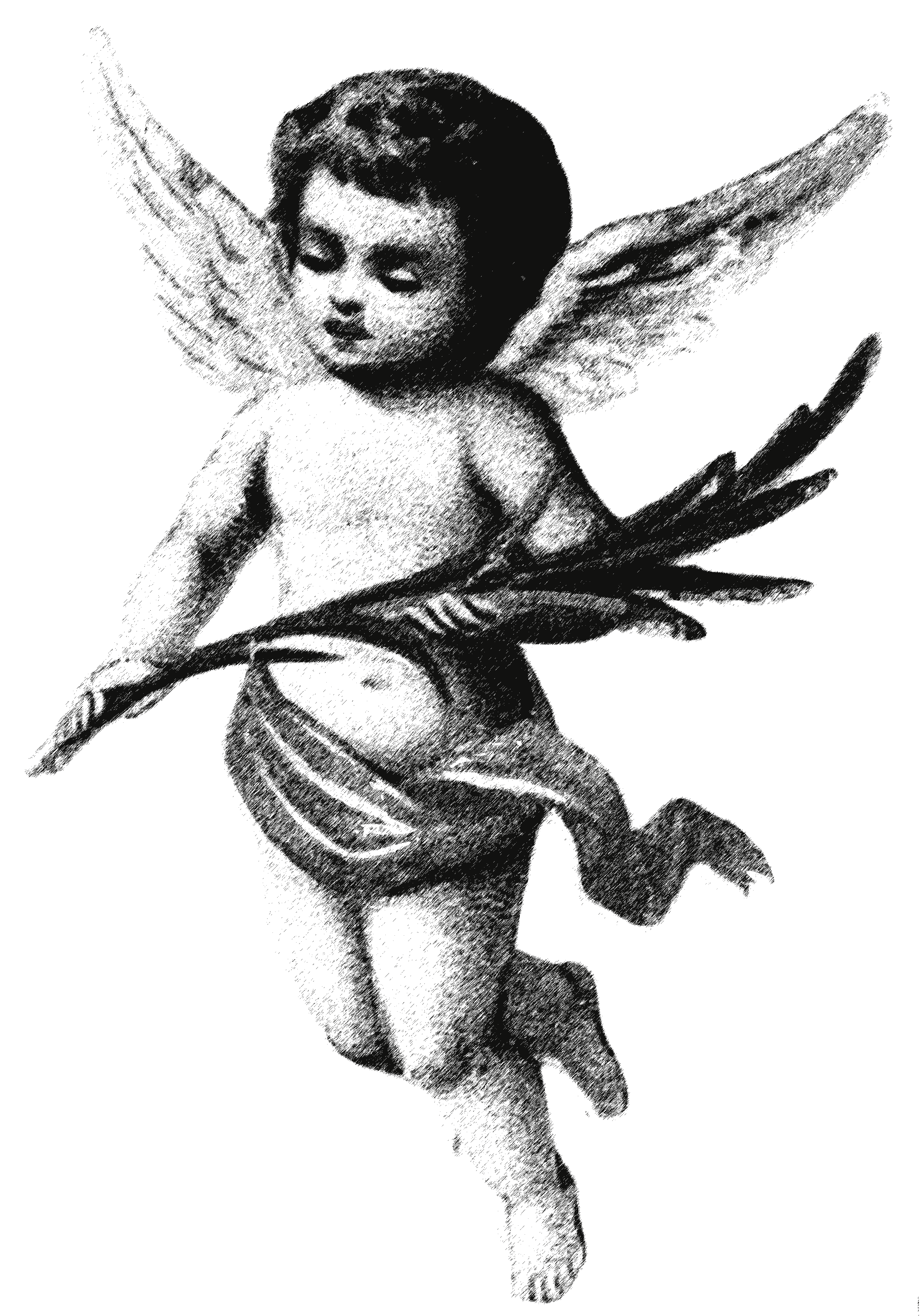 Black And White Vintage Drawing Of The Angel Clipart Free Image