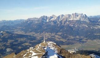 gorgeous aerial view of kitzbüheler horn, austria, kaiser mountains