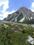 panoramic view of a mountain meadow at the foot of the Dolomites