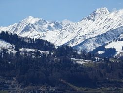 Alpine mountains from distant viewpoint