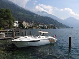 motor boat on the shore of Lake Lucerne