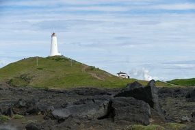 lighthouse on the island of Reykjanesli in Iceland