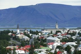 Reykjavik at the foot of the mountains