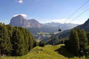 cable car on sassolungo mountain in south tyrol