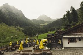 resort in the valley of mountains of south tyrol