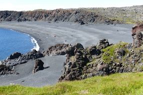 coast of volcanic rock in iceland