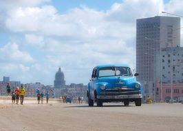 Landscape with the blue vintage auto and Havana