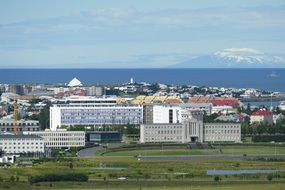 panoramic view of Reykjavik on the shores of the Atlantic Ocean