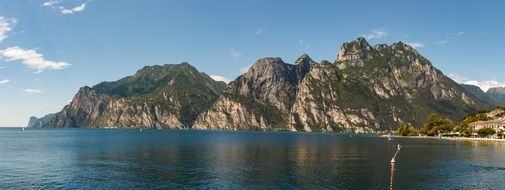 Panorama view of high mountains on a lake bank