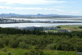 distant view of the city of reykjavik