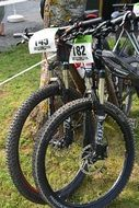Mountain Bikes with Race numbers