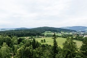 panoramic view of a green plateau in the bavarian forest