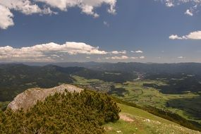 panoramic view of the alps in summer