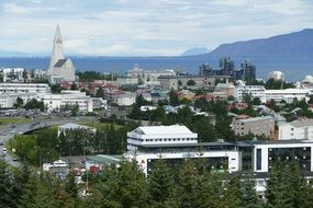 panorama of the city of Reykjavik on the Atlantic