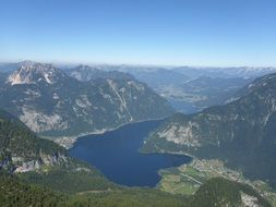 panoramic view of a lake in the mountains of austria
