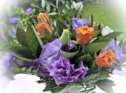 anemones in violet blue and white arrangement
