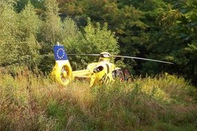 yellow rescue helicopter