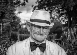 Old Man in Hat, black and white Portrait