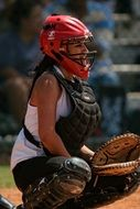 girl athlete playing softball