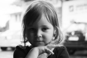 black and white portrait of a pretty baby girl model
