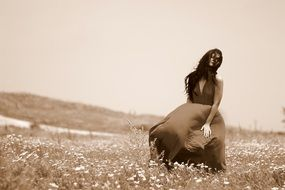 sensual woman on the meadow