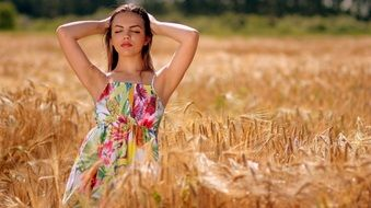 beauty Girl in colorful dress nature view