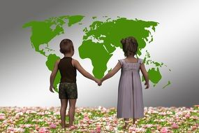 children holding hands look at the map of the world