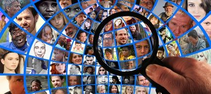 collage of photos of people under a magnifying glass