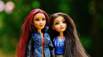 two girlfriend dolls with long hair