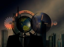 Skyline Man Globe drawing