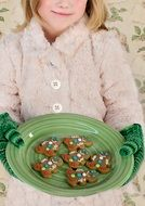 Christmas cookies in a green plate