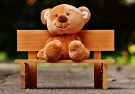 teddy bear on a wooden bench